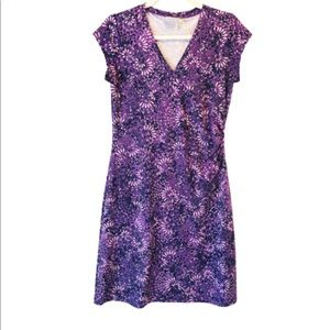 Athleta Purple Nectar Print Faux Wrap Dress